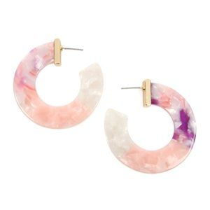 Pink, Purple, White Multi-Tone Resin Hoop Earrings
